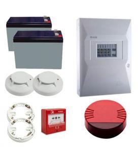 Kit Incendio Unipos 2 zonas. Central + 1 Pulsador + 2 Detectores con base + 1 Sirena + 2 Baterias - Imagen 1
