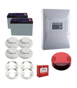 Kit Incendio Unipos 4 zonas. Central + 1 Pulsador + 4 Detectores con base + 1 Sirena + 2 Baterias - Imagen 1