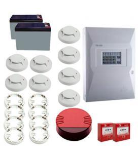 Kit Incendio Unipos 8 zonas. Central + 2 Pulsadores + 8 Detectores con base + 1 Sirena + 2 Baterias - Imagen 1