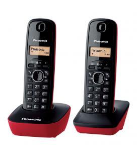Teléfono inalámbrico dect panasonic kx-tg1612 negro/rojo - pack dúo - ident. llamadas- agenda 50 entradas - pantalla lcd 1