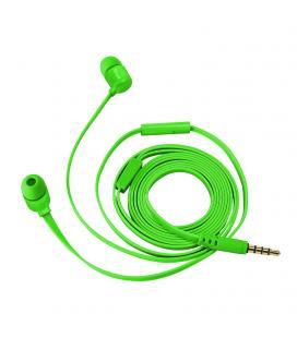 Auriculares intrauditivos trust duga verde neón - micrófono integrado - cable plano anti enredos - almohadillas 3 tamaños