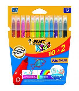 Rotuladores caja 12 bic kid couleur - base agua - tinta ultralavable - punta 2,8mm