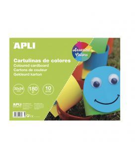 Bloc de cartulinas de colores - 10 hojas - 32x24 cm - colores surtidos - apli