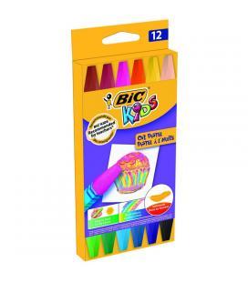 Ceras blandas oil pastel - colores vivos - 12 uds - colores hexagonales - bic kids