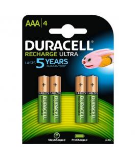 Pack 4 pilas aaa recargables duracell hr03-a - nimh - 1.2v - 850mah - precargadas listas para utilizar