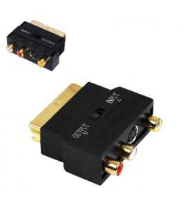 NANOCABLE ADAPTADOR EUROCONECTOR A RCA/SVIDEO, SCART/M-3XRCA/H+SVIDEO/H CON SWITCH (10.27.0051)