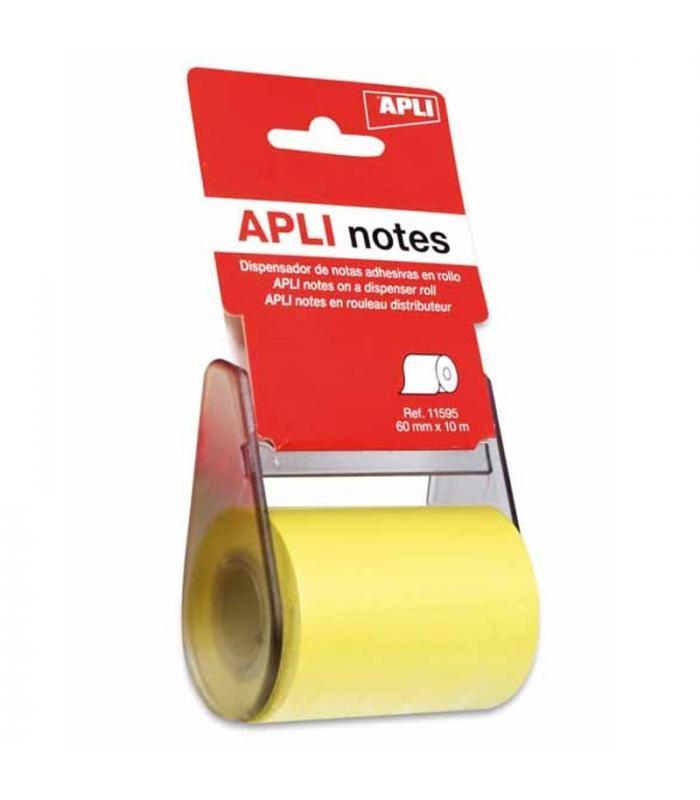Rollo dispensador de nota adhesiva 60 mm x 1 m color amarillo APLI 11595