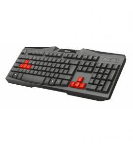 Teclado trust ziva gaming - teclas para jugar en rojo - teclado completo en español - escritura silenciosa - cable 1.50m