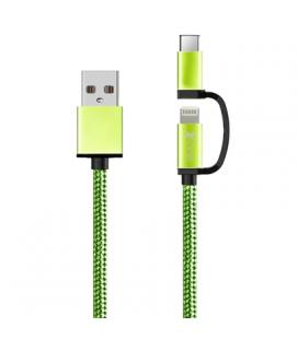 X-One CDL1000GR Cable USB a Micro + iPhone Verde