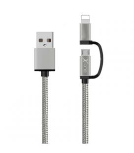 X-One CDL1000S Cable USB a Micro + iPhone Plata
