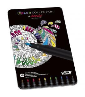Caja metálica con 10 rotuladores para pintar mándalas - color collection by conte - colores surtidos bic