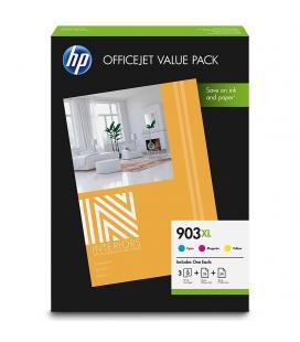 Pack officejet value hp - 3 cartuchos 903xl cian/magenta/amarillo + 50 hojas hp a4 80gr + 25 hojas hp a4 180gr - compatiblidad