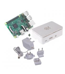 Raspberry kit Pi 3+ caja blanca+ fuente 5.1V blanc