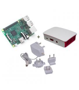 Raspberry kit Pi 3+ caja bca/roja+ fuente 5.1V b