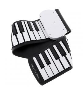 Foldable Silicone Piano - 49 Keys, 8 Tones, 6 Demo Songs, Adjustable Volume, 3.5mm Audio Jack, Lightweight
