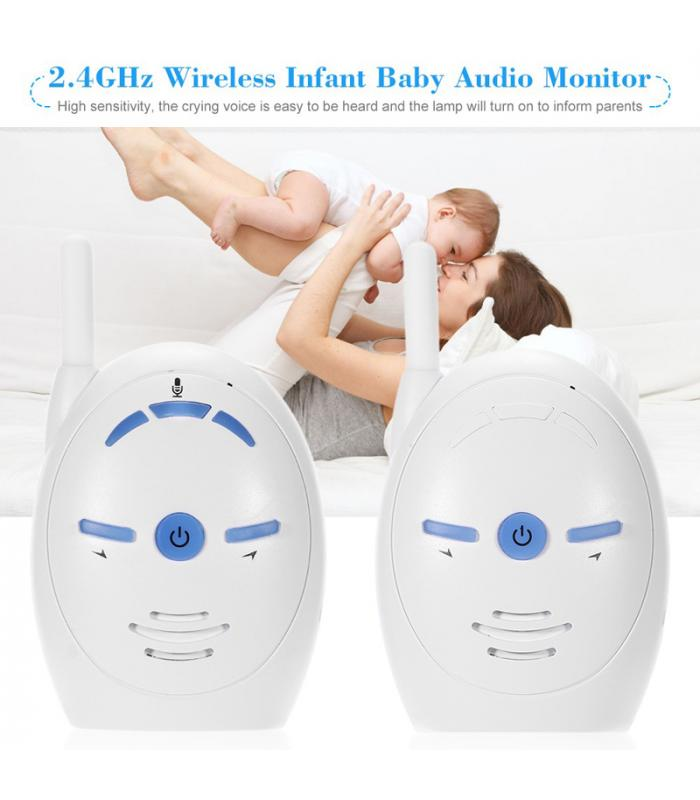 baby audio monitor 2 4ghz wireless dual way communication support sensitive mic and speakers. Black Bedroom Furniture Sets. Home Design Ideas