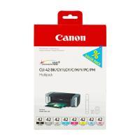 7cartucho inyección tinta colores cli-42bk-c-m-y-pm-pc-gy-lgy pack 8 - compatible con pixma pro-100