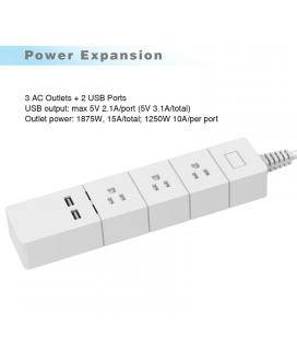 Wi-Fi Power Strip Type B - 3x Type B Sockets, 2 USB Ports, 1.7M Cable, Wi-fi Connectivity for iOS & Android