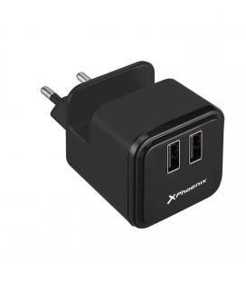 Cargador adaptador usb universal de pared phoenix phusbminicharger con soporte para telefono/ smartphone 2 x usb negro 5v tota