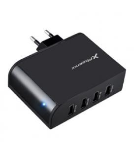 Cargador adaptador usb universal de pared phoenix phmultiusbcharger 4 x usb negro 5.1v 2.1a