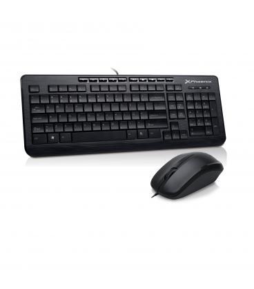 Combo teclado qwerty español multimedia phoenix phkeymedia+ con cable + raton mouse optico cable usb phoenix - Imagen 1