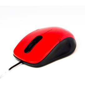 Mouse raton optico phoenix phm355r con cable usb hasta 1000 dpi 3 botones + scroll rojo y negro