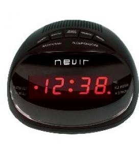 Radio reloj despertador nevir nvr-333 negro digital alarma dual