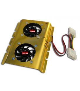 Ventilador doble con disipador para disco duro 3.5'' interno del pc