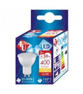 Bombilla 4u led reflectora 5w=50w/ gu10/ 110º/ 400 lumenes/ 15000 horas/ 3000k/ luz calida