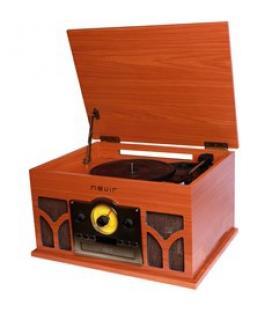 Tocadiscos con radio cd conversor bluetooth nevir nvr-807vrbuc de madera - Imagen 1