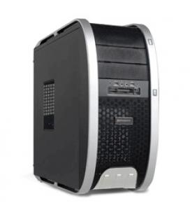 Caja ordenador semitorre atx phoenix 3806 gaming 2 usb hd audio. negro y plateado con lector tarjetas sin fuente