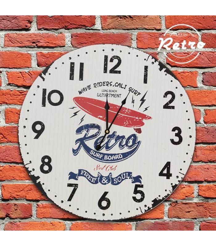 Reloj de pared retro surf board for Reloj pared retro