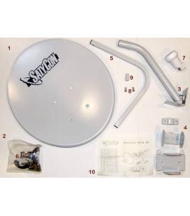 Kit completo antena parabolica tv satelite satycon 80cm + lnb + soporte de pared