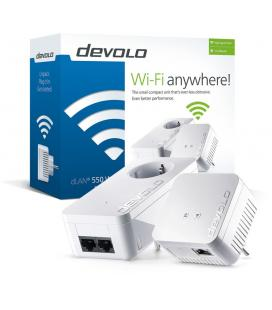 Kit plc/powerline devolo dlan 550 wifi - 1*dlan 550 wifi + 1*dlan 550 duo+ - 500mbps por cable corriente - 300mbps por wifi -