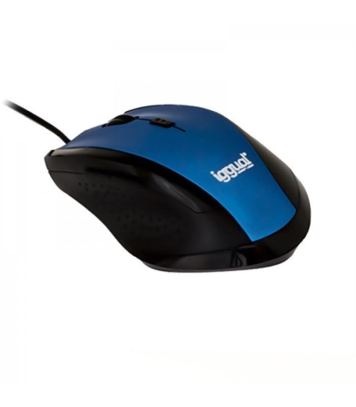 iggual WORK-1 Ratón óptico 1600dpi 6D USB Azul