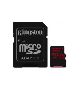 Kingston 128GB MICROSDXC CANVAS REACT 100R/80W U3 UHS-I V30 A1 CARD + SD ADPTR