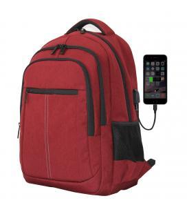 Mochila phoenix phbostonr para portatil hasta 15.6 pulgadas / con cable usb / viaje / rojo