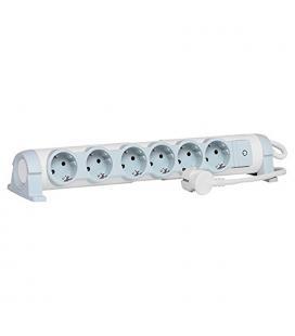 Regleta confort legrand 694637 - 6x2p+t - tomas de corriente orientables - cable de 3 metros - blanco