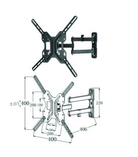 "Soporte articulado de pared para tv/monitor rotacion 180º hasta 42"" inclinacion 15º vesa 400x400 hasta 25kg negro"
