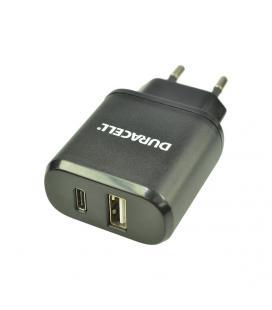 CARGADOR PARED DURACELL DRACUSB6-EU - PUERTO USB TIPO-C Y USB TIPO-A - 5V - 3A - NEGRO
