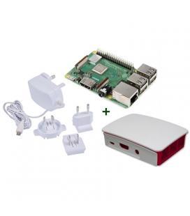 Raspberry kit Pi 3 B+ + caja bca/roja + fuente b - Imagen 1