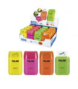 Combinación de goma y sacapuntas compact fluo milán - colores surtidos fluor