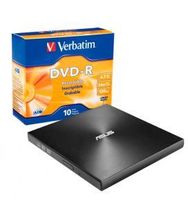 BUNDLE REGRABADORA EXTERNA ASUS SDRW-08U9M-U/BLK/G/AS/P2G + PACK 10 VERBATIM DVD-R 16X ADVANCED AZO - Imagen 1
