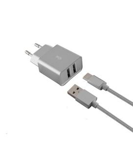 CARGADOR MOVIL KSIX 2XUSB 2.4A + 1 CABLE MICRO USB