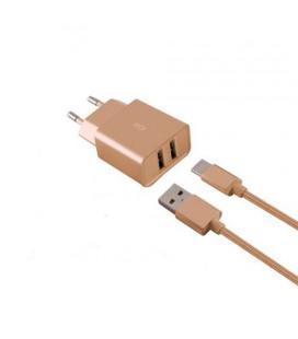 CARGADOR MOVIL KSIX 2XUSB 2.4A + 1 CABLE MICRO USB