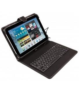Funda universal silver ht para tablet 9-10.1 + teclado con cable micro usb negro