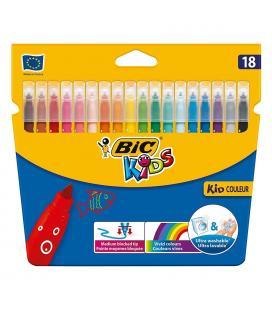Rotuladores caja 18 bic kid couleur - base agua - tinta ultralavable - punta 2.8mm