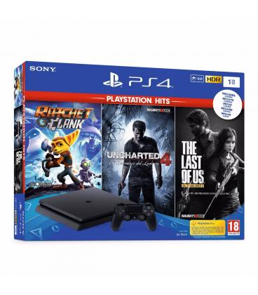 Consola sony ps4 1tb negra + ratched and clank/ uncharted 4/ the last of us - Imagen 1