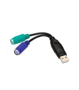 Adaptador ps/2 a usb aisens a104-0040 - conectores 2*ps/2 hembra/usb 2.0 tipo a macho - 15cm - negro