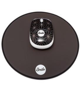 Raton mouse con alfombrilla smile pixie mouse pack-black geometic 1000dpi /3 botones